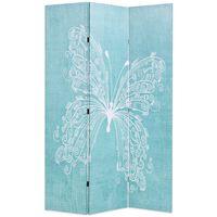 vidaXL Taitettava tilanjakaja perhoset 120x170 cm sininen