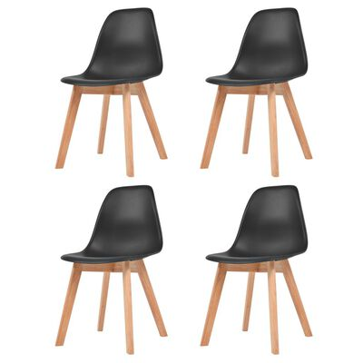 vidaXL Ruokapöydän tuolit 4 kpl musta muovi