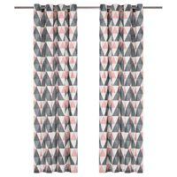 vidaXL Verhot metallirenkailla 2 kpl puuvilla 140x245 cm harmaa/pinkki