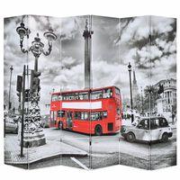 vidaXL Taitettava tilanjakaja Lontoon bussi 228x1870 cm mustavalkoinen
