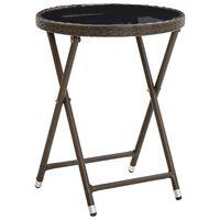 vidaXL Teepöytä ruskea 60 cm polyrottinki ja karkaistu lasi