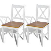 vidaXL Ruokapöydän tuolit 2 kpl valkoinen mänty
