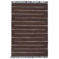 vidaXL Käsin kudottu chindi-matto puuvilla 160x230 cm ruskea
