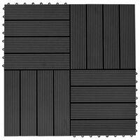 vidaXL Lattialaatat 11 kpl puumuovikomposiitti 30x30 cm 1 m² musta