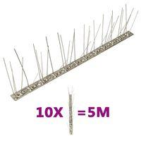 vidaXL 5-riviset lintu- ja kyyhkyspiikit ruostumaton teräs 10 kpl 5 m