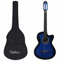 vidaXL 12-osainen Western-kitarasarja EQ:lla, 6-kielinen, sininen