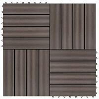 vidaXL Lattialaatat 22 kpl 30x30cm 2 m² puukomposiitti tummanruskea