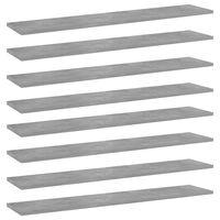 vidaXL Kirjahyllytasot 8 kpl betoninharmaa 100x20x1,5 cm lastulevy