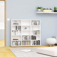 vidaXL CD-hylly korkeakiilto valkoinen 102x23x89,5 cm lastulevy