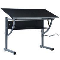 vidaXL Teini-ikäisten piirustuspöytä musta 110x60x87 cm MDF