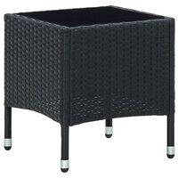 vidaXL Puutarhapöytä musta 40x40x45 cm polyrottinki