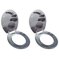 vidaXL WC-istuimet hard-close kansilla 2 kpl MDF kivet