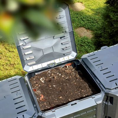 vidaXL Puutarhan kompostiastia musta 380 l