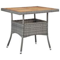 vidaXL Ulkoruokapöytä harmaa polyrottinki ja akaasiapuu