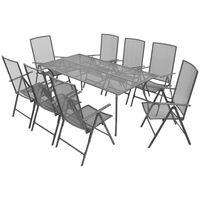 vidaXL 9-osainen Ulkoruokailuryhmä taittuvat tuolit teräs antrasiitti