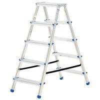 vidaXL Alumiiniset kaksipuoliset tikkaat 5 askelmaa 113 cm