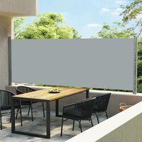 vidaXL Sisäänvedettävä terassin sivumarkiisi 600x160 cm harmaa