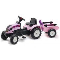 FALK Ajettava polkutraktori peräkärryllä Princess trac vaaleanpunainen