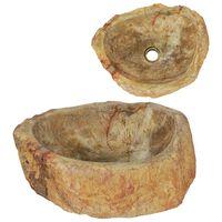 vidaXL Pesuallas fossiilinen kivi 45x35x15 cm kerma