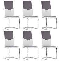 vidaXL Takajalattomat ruokapöydän tuolit 6 kpl harmaa keinonahka