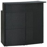 vidaXL Puutarhan baaripöytä musta 120x55x110 cm polyrottinki