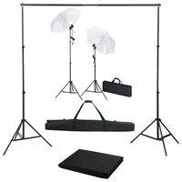 vidaXL Valokuvastudiosarja taustakankaalla, lampuilla ja varjoilla