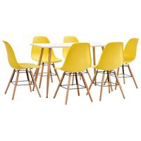 vidaXL 7 Piece Dining Set Plastic Yellow (248304+248270)