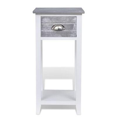 vidaXL Yöpöytä 1 vetolaatikolla harmaa ja valkoinen