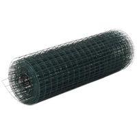 vidaXL Kanaverkko teräs PVC pinnoitteella 10x0,5 m vihreä