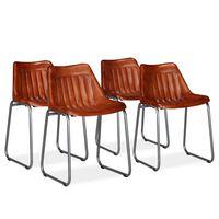 vidaXL Ruokapöydän tuolit 4 kpl ruskea aito nahka