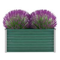 vidaXL Korotettu kukkalaatikko galvanoitu teräs 100x40x45 cm vihreä