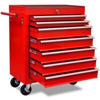 vidaXL Työkalukärry 7 vetolaatikolla punainen