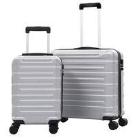 vidaXL Kovapintainen matkalaukkusarja 2 kpl hopea ABS