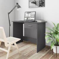 vidaXL Työpöytä korkeakiilto harmaa 100x50x76 cm lastulevy