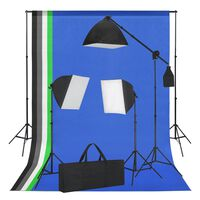 vidaXL Valokuvastudiosarja softbox-valot ja taustakankaat