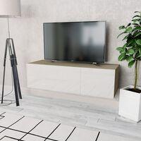vidaXL TV-taso Lastulevy 120x40x34 cm Korkeakiilto Valkoinen ja Tammi