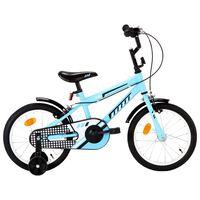 """vidaXL Lasten pyörä 16"""" musta ja sininen"""