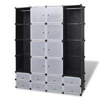 vidaXL Moduulikaappi 18 lokeroa 37x146x180,5 cm musta ja valkoinen
