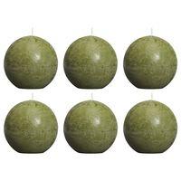 Bolsius Pallokynttilät 6 kpl rustiikkinen 80 mm oliivi