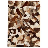 vidaXL Matto aito nahka tilkkutyö 120x170 cm ruskea/valkoinen