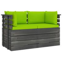 vidaXL Garden 2-Seater Pallet Sofa with Cushions Solid Pinewood (2x315419+2x315075)