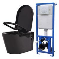 vidaXL WC piilotetulla vesisäiliöllä Keraaminen Musta