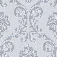 vidaXL Kuitutapettirullat 4 kpl valkoinen 0,53x10 m ornamentti
