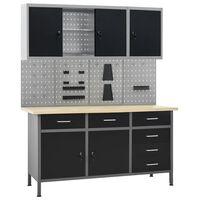vidaXL Työpöytä neljällä seinäpaneelilla ja kahdella kaapilla