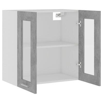 vidaXL Seinäkaappi lasilla betoninharmaa 60x31x60 cm lastulevy, Concretegrey