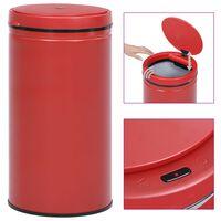 vidaXL Roskakori automaattisella anturilla punainen hiiliteräs 60 l