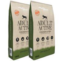 """vidaXL """"Adult Active Chicken & Fish"""" koiran kuivaruoka 2 kpl 30 kg"""