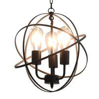 vidaXL Roikkuva lamppu musta pallo 3 x E27 Bulbs
