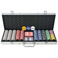 vidaXL Pokerisetti 500 pelimerkillä Alumiini
