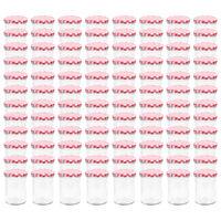 vidaXL Lasiset hillopurkit valkopunaisilla kansilla 96 kpl 400 ml
